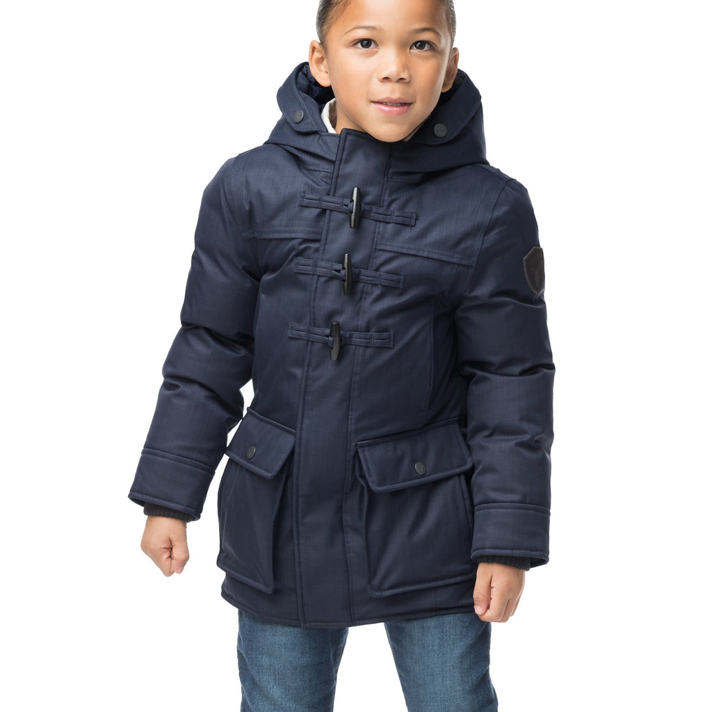 Kid's thigh high down coat with toggle closures in CH Navy | color
