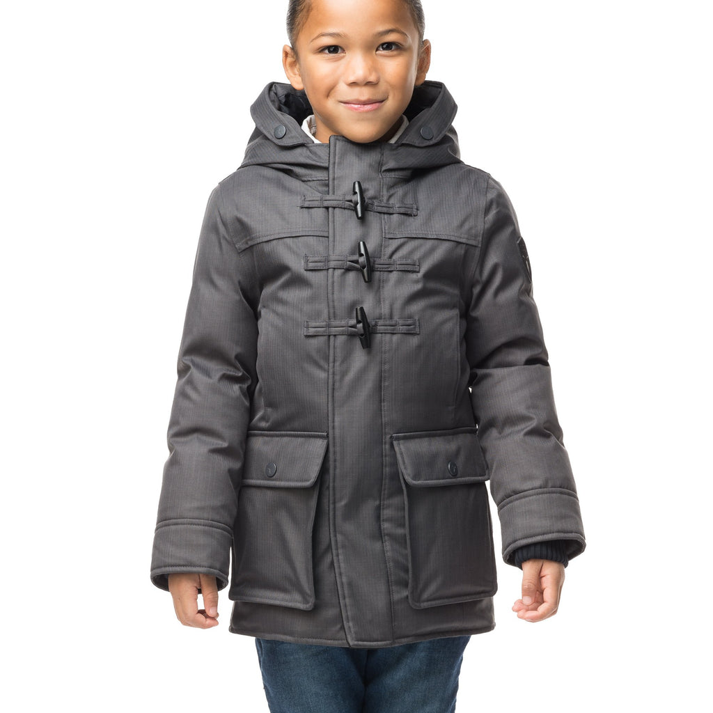 Kid's thigh high down coat with toggle closures in CH Steel Grey | color