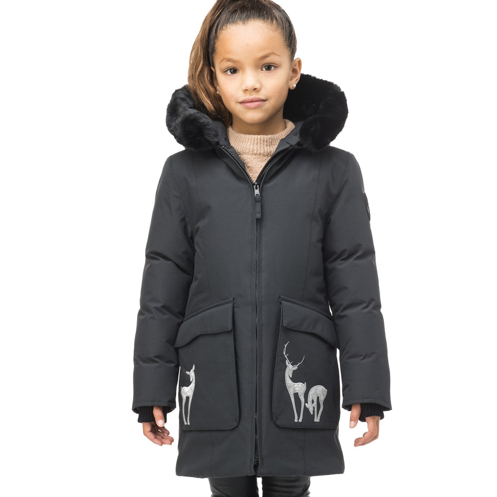 Kid's knee length down filled parka with deer applique detailing on the front patch pockets in Cy Black | color