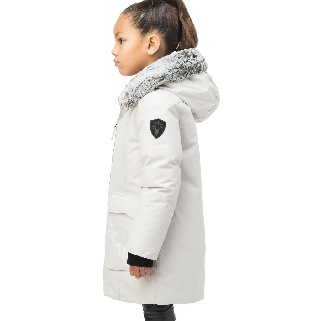 Kid's knee length down filled parka with deer applique detailing on the front patch pockets in Light Grey | color