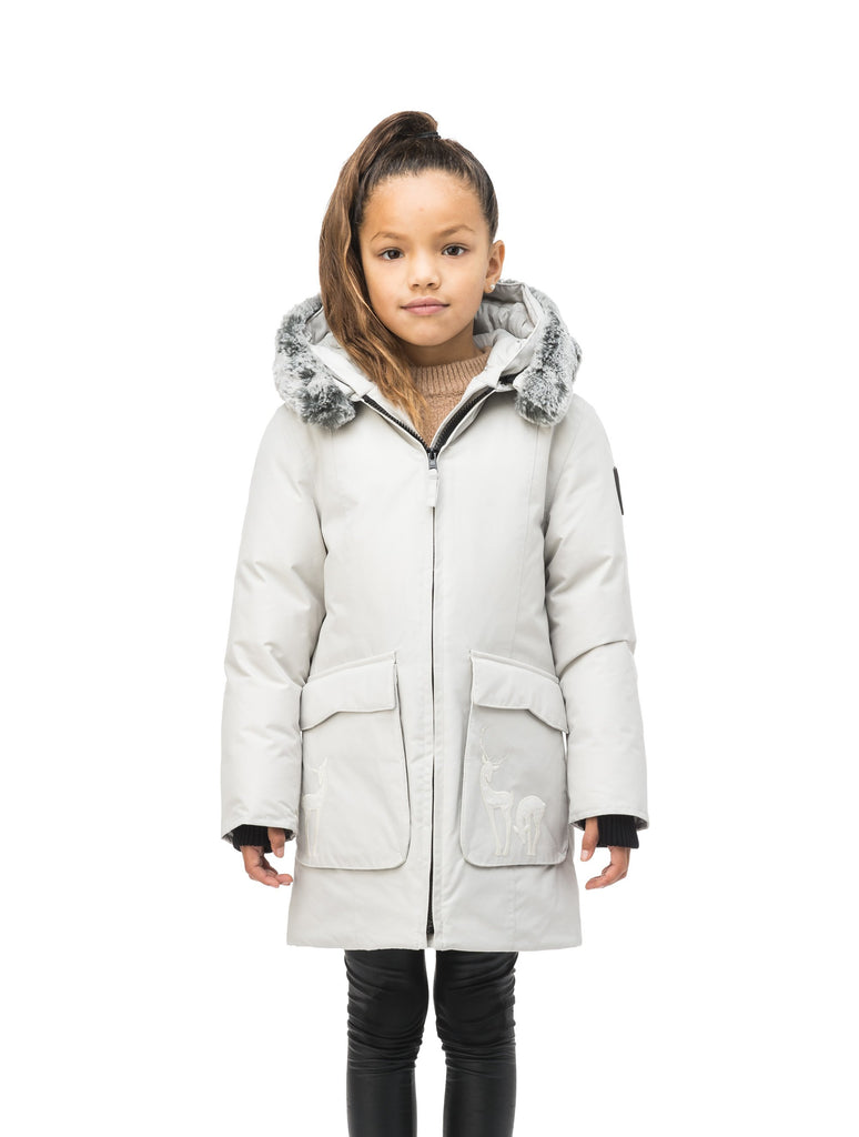 Kid's knee length down filled parka with deer applique detailing on the front patch pockets in Light Grey| color