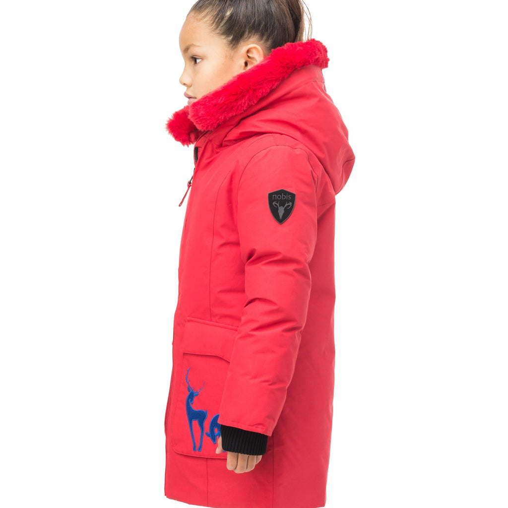 Kid's knee length down filled parka with deer applique detailing on the front patch pockets in Cy Red | color