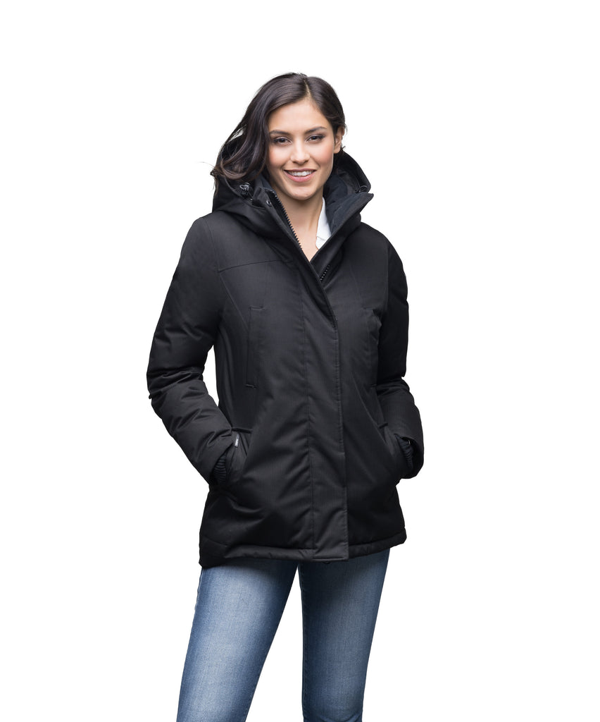Women's hip length down filled parka in Black| color