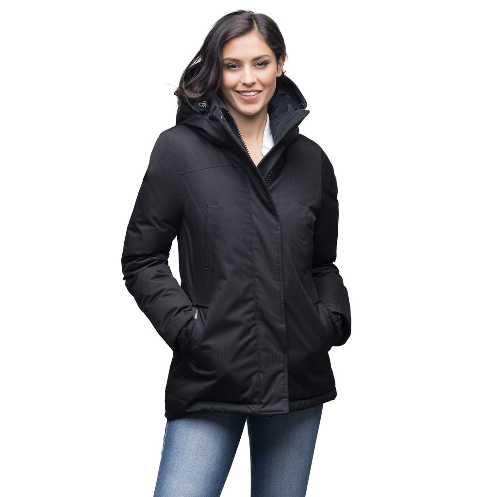 Women's hip length down filled parka in Black | color