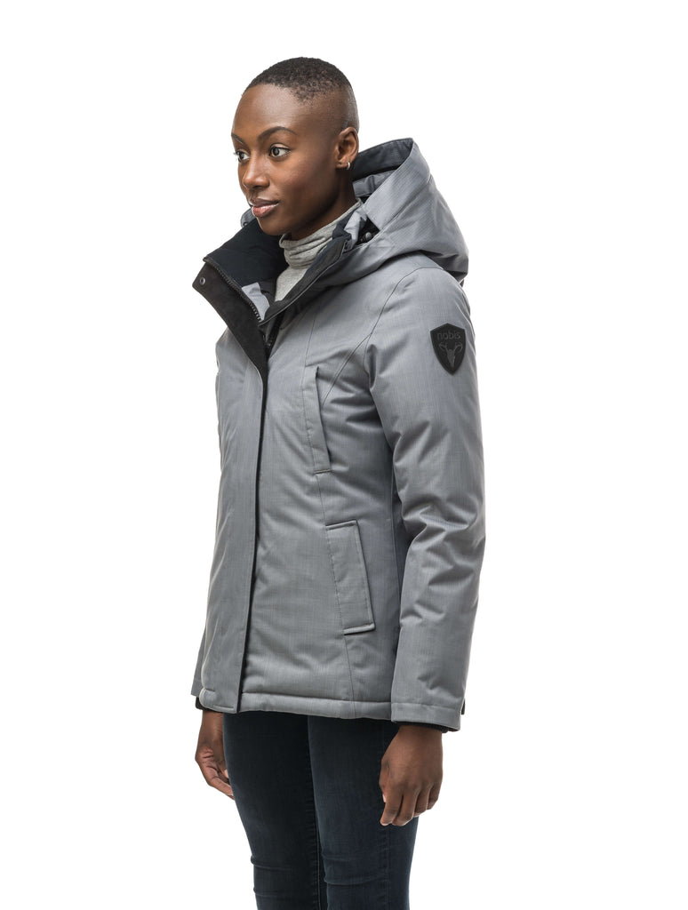 Women's hip length down filled parka in Concrete| color