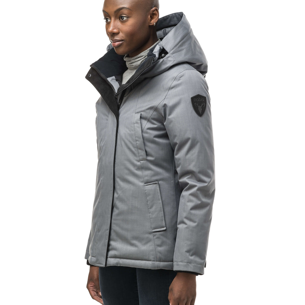 Women's hip length down filled parka in Concrete