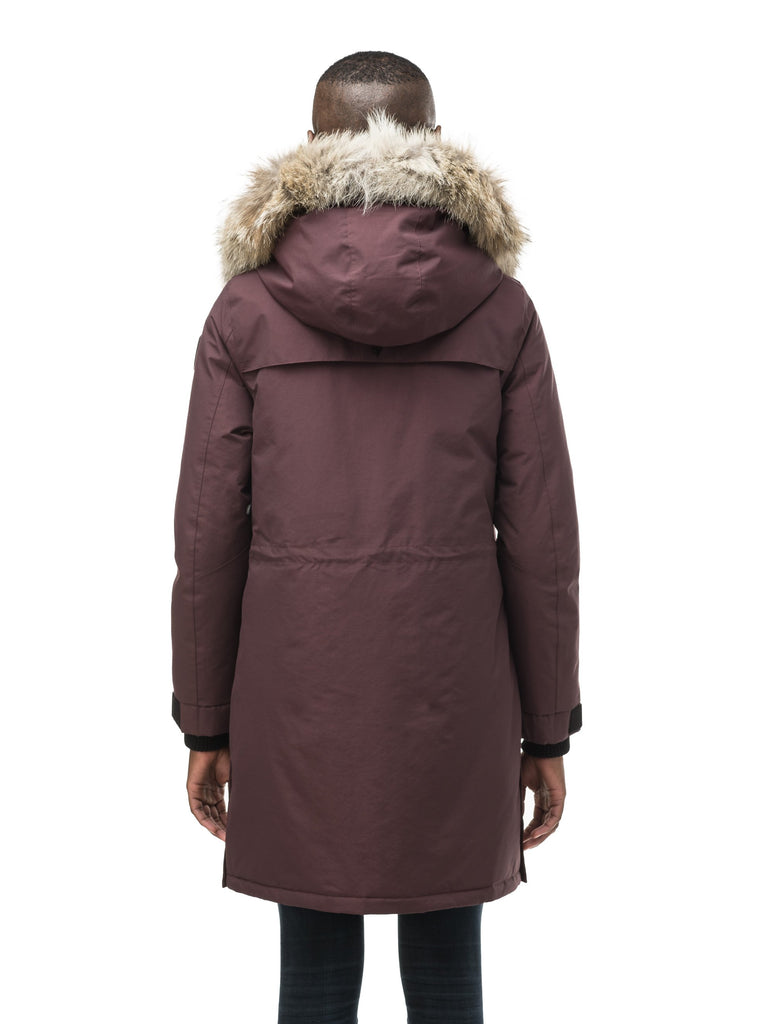 Women's knee length down filled parka with two chest patch pockets and two waist patch pockets in Burgundy| color