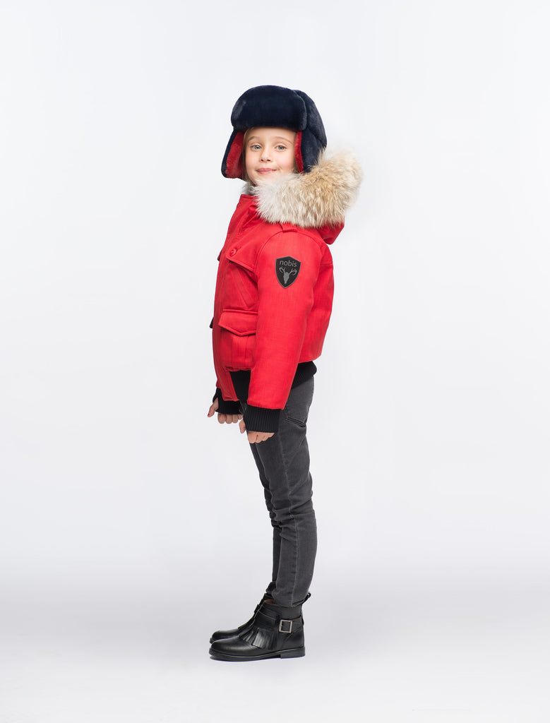 Kid's waist length down bomber jacket with fur trim hood in CH Red| color