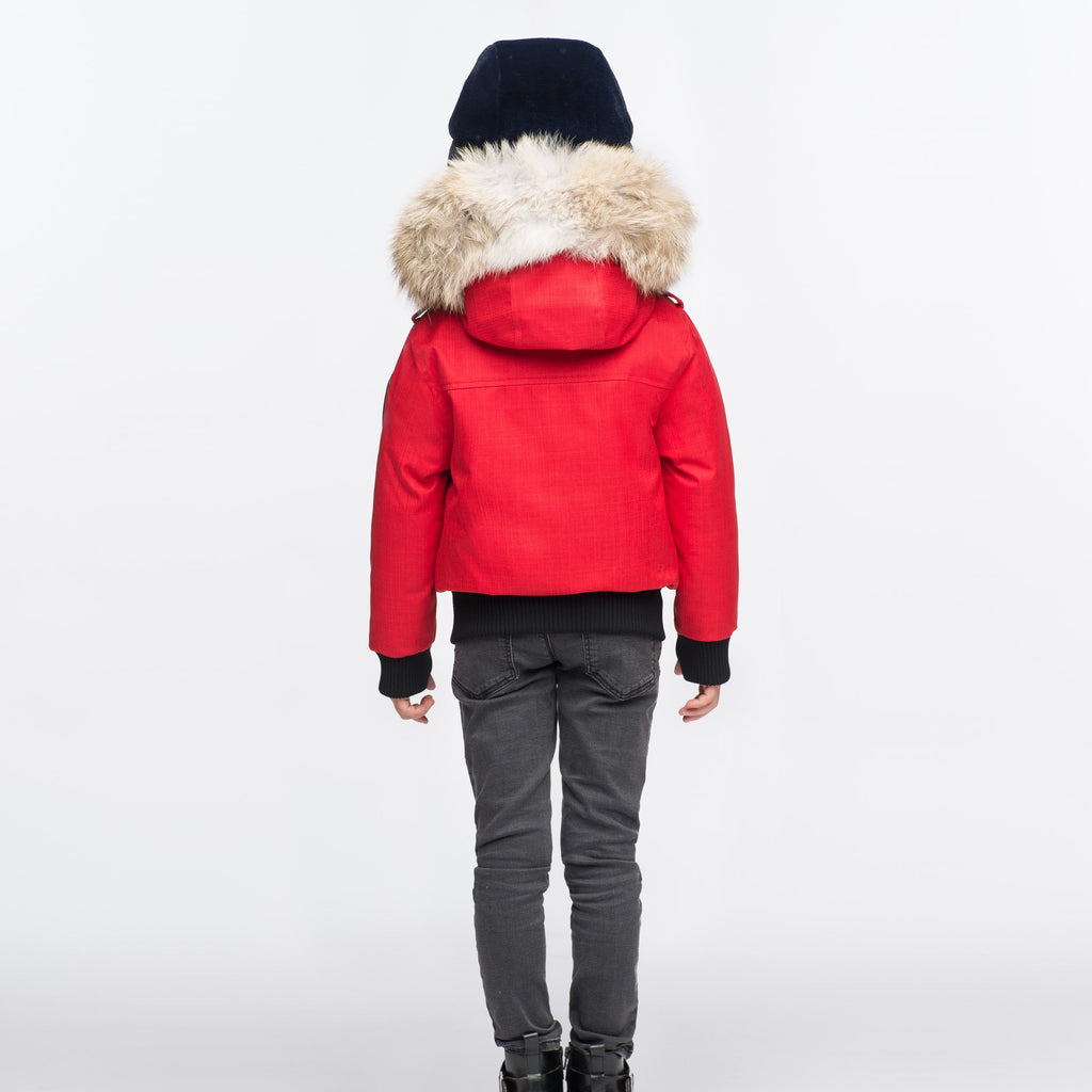 Kid's waist length down bomber jacket with fur trim hood in CH Red | color