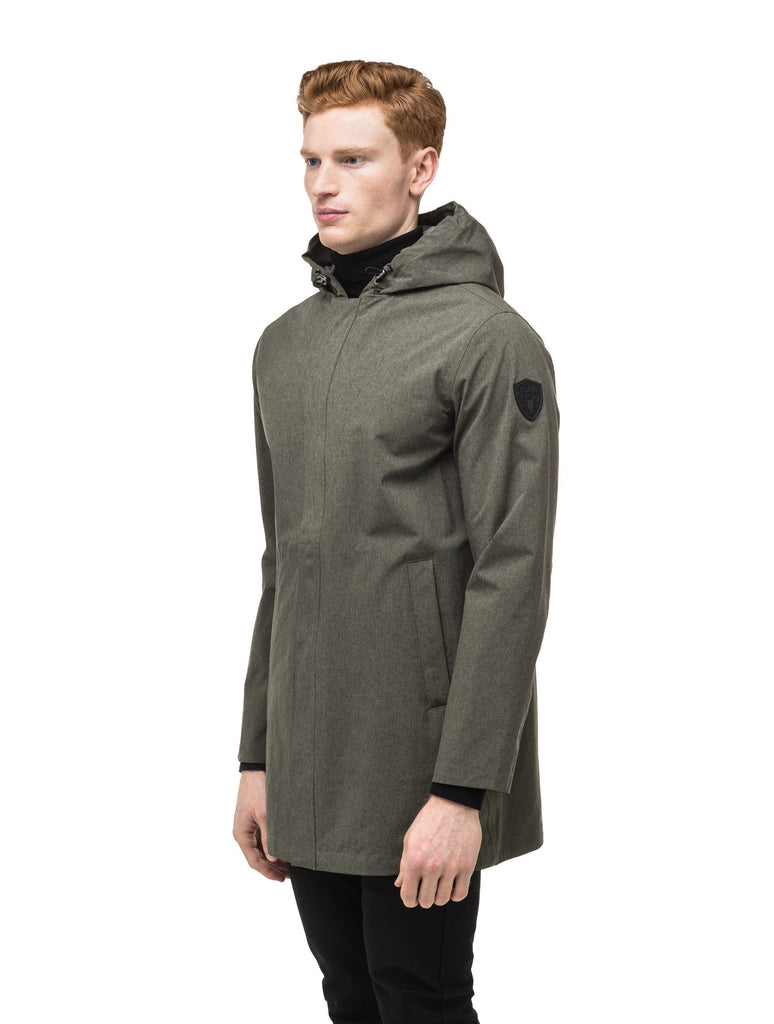Men's thigh length rain coat with hood in Army Green| color