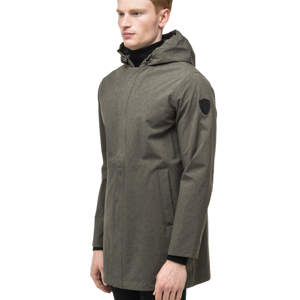 Men's thigh length rain coat with hood in Army Green | color