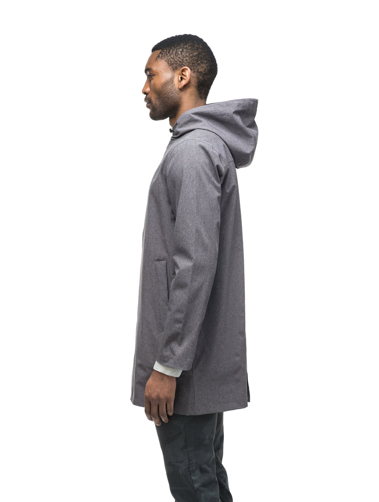 Men's thigh length rain coat with hood in Dk Grey| color