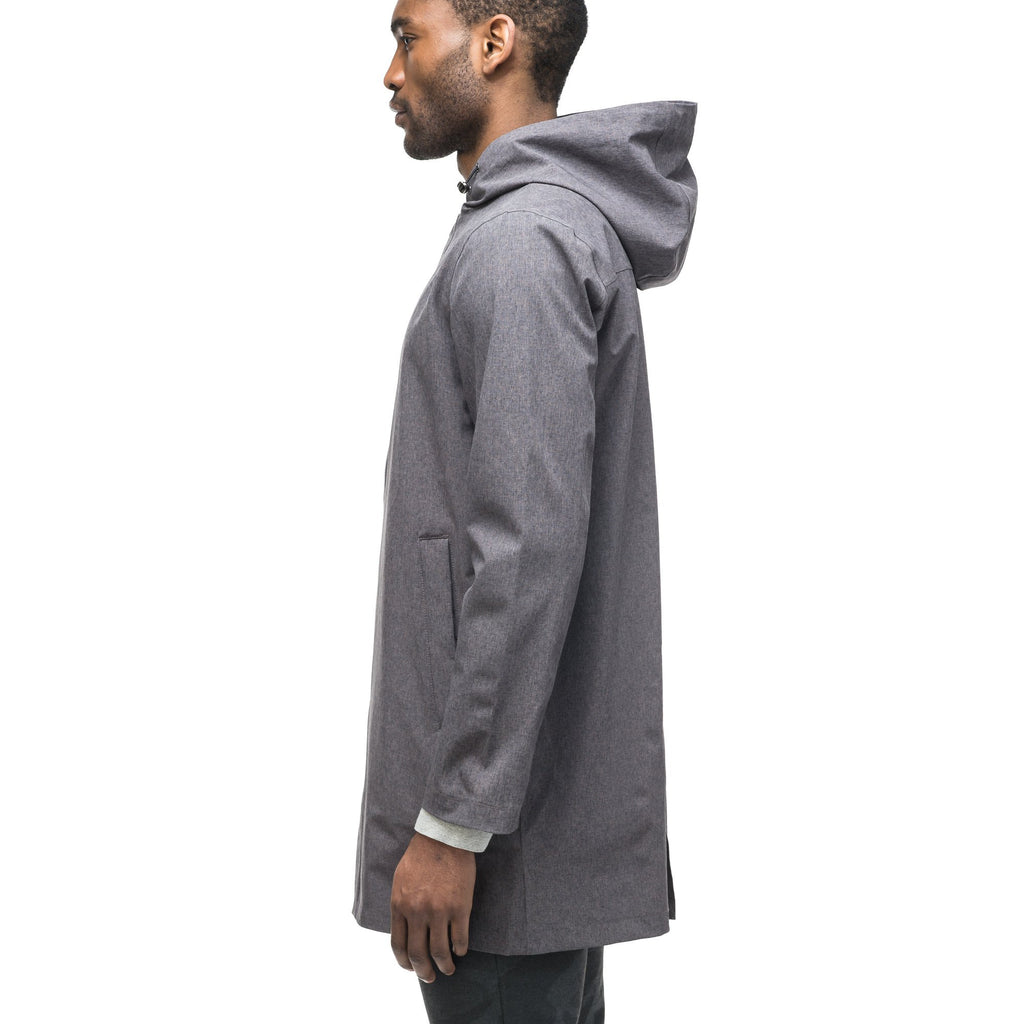 Men's thigh length rain coat with hood in Dk Grey | color