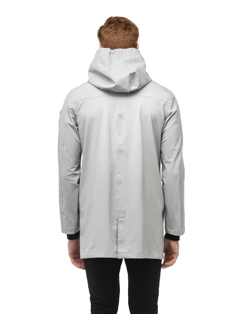 Men's thigh length rain coat with hood in Light Grey| color