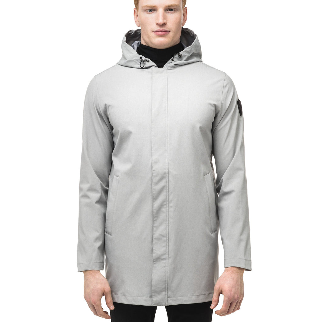 Men's thigh length rain coat with hood in Light Grey | color