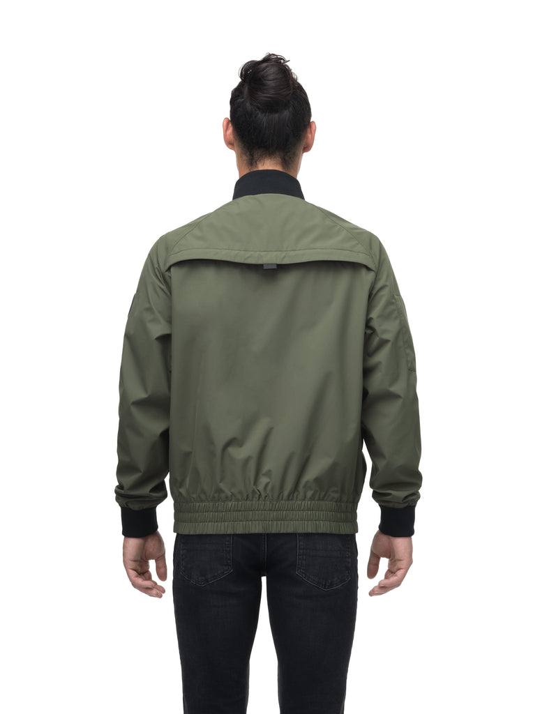 Men's hip length waterproof bomber jacket with 2-way zipper in Fatigue| color