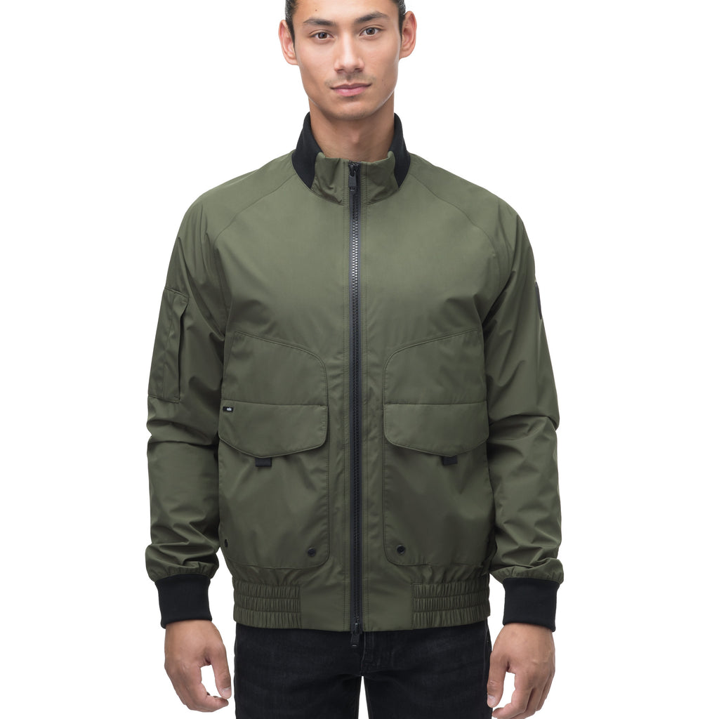 Men's hip length waterproof bomber jacket with 2-way zipper in Fatigue | color