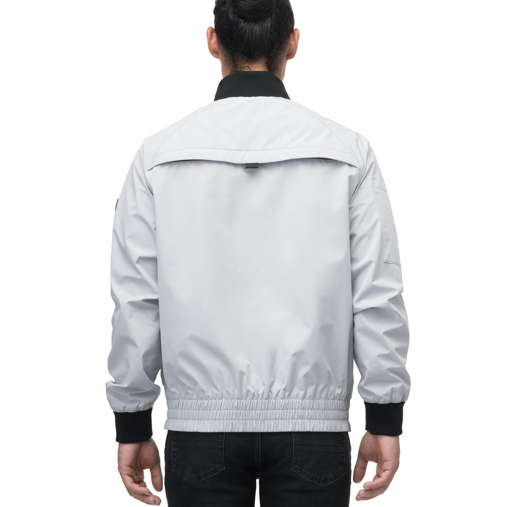 Men's hip length waterproof bomber jacket with 2-way zipper in Light Grey | color
