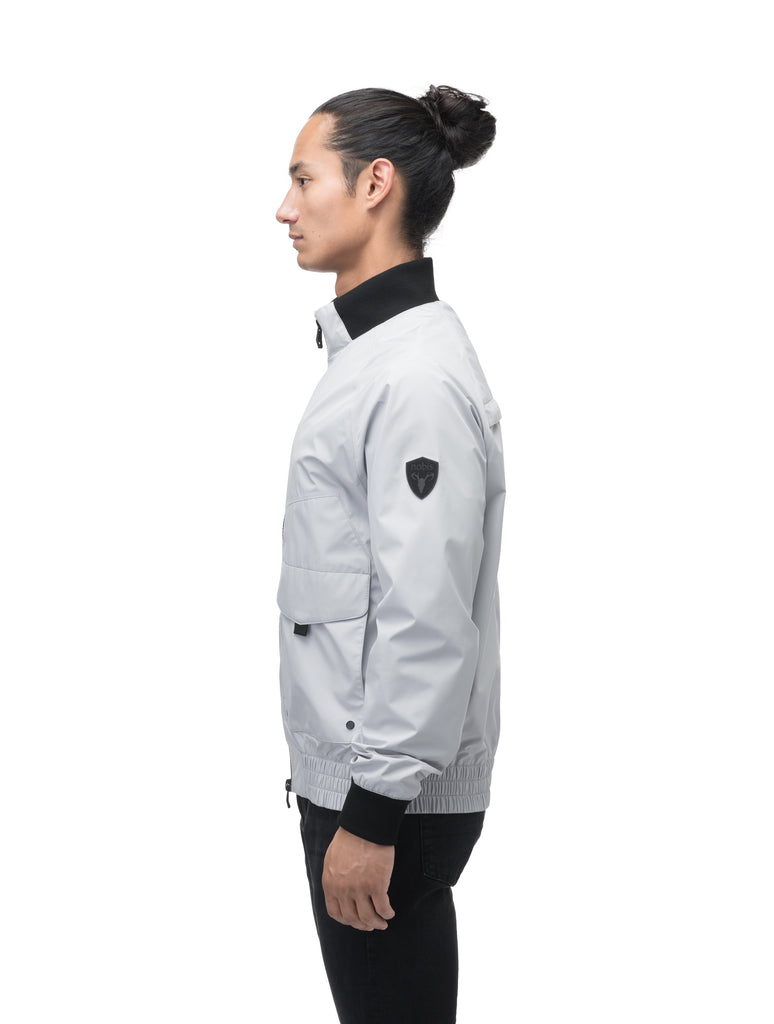 Men's hip length waterproof bomber jacket with 2-way zipper in Light Grey| color