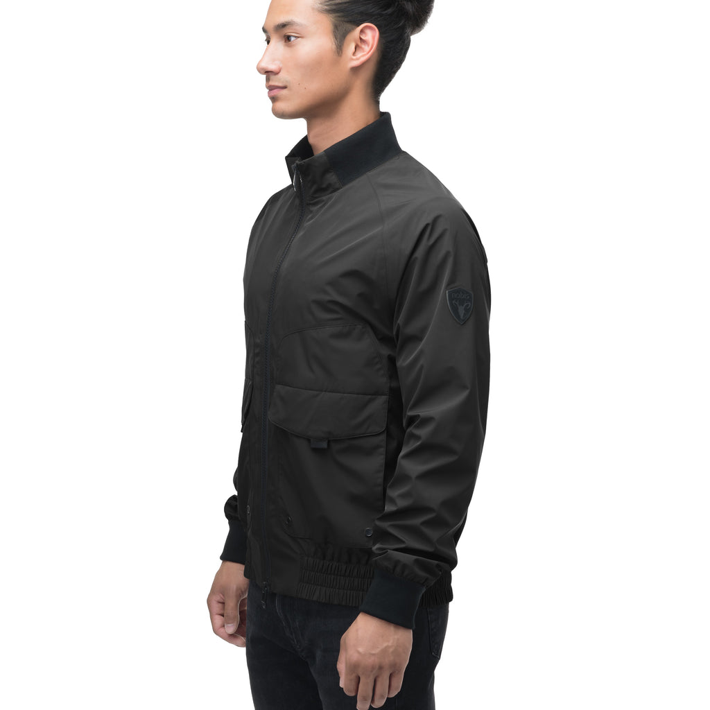 Men's hip length waterproof bomber jacket with 2-way zipper in Black | color