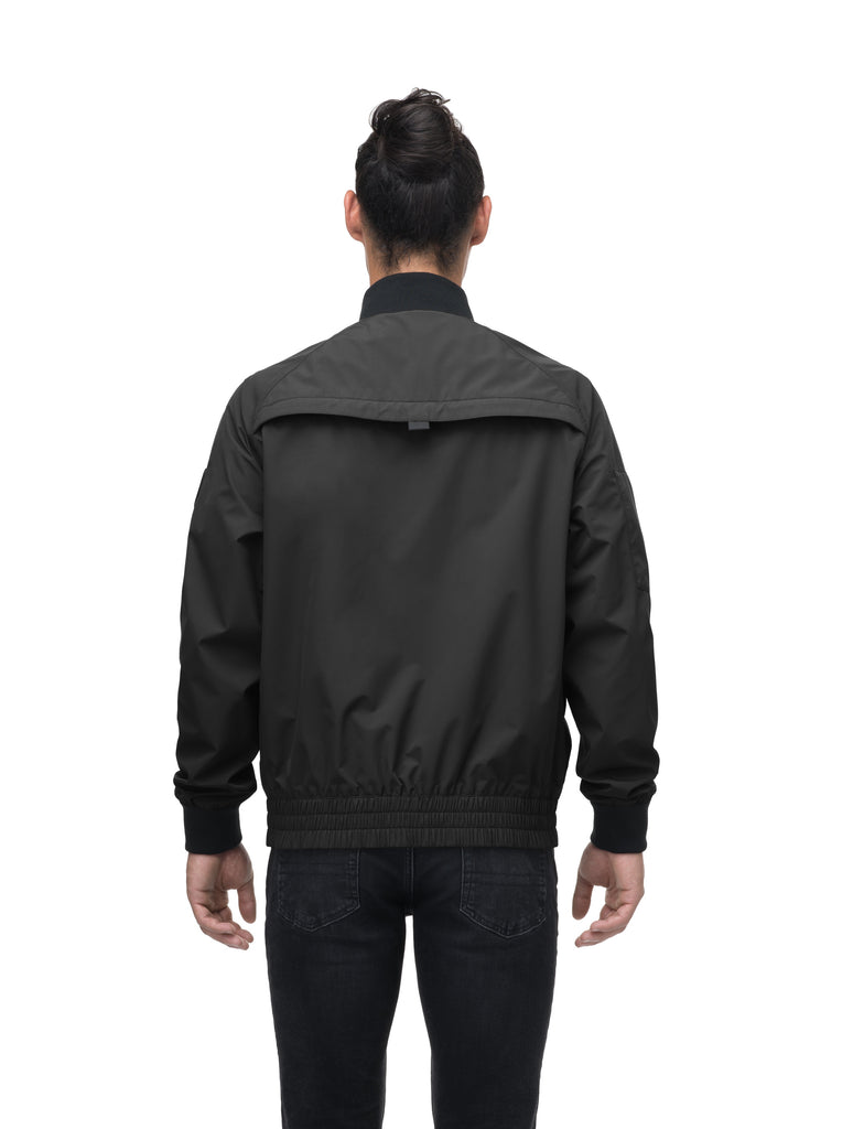 Men's hip length waterproof bomber jacket with 2-way zipper in Black| color