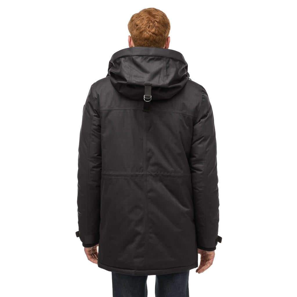 Mid weight men's down filled parka with two patch pockets at the hip and snap closure side vents in Black | color