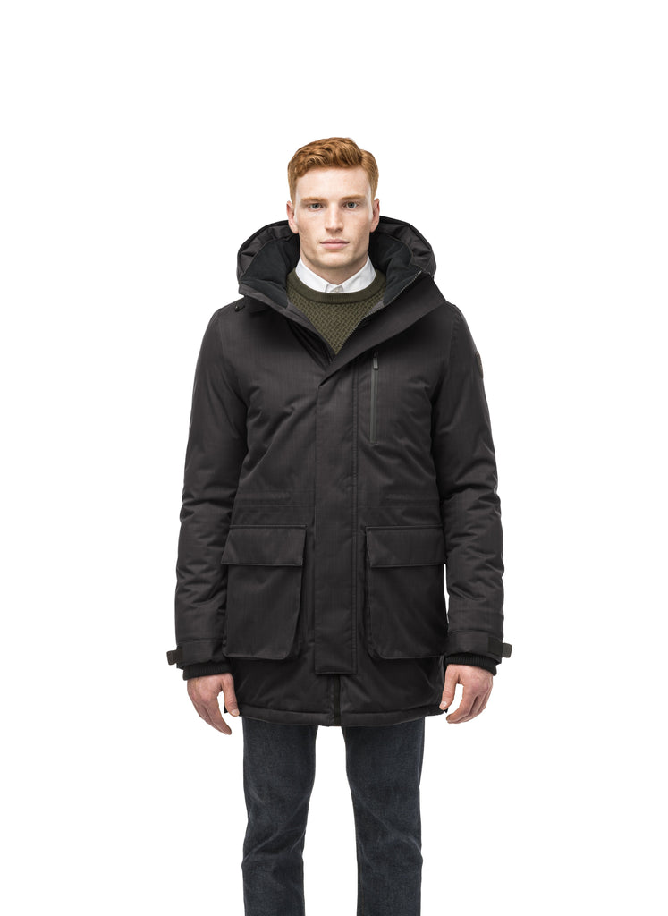 Mid weight men's down filled parka with two patch pockets at the hip and snap closure side vents in Black| color