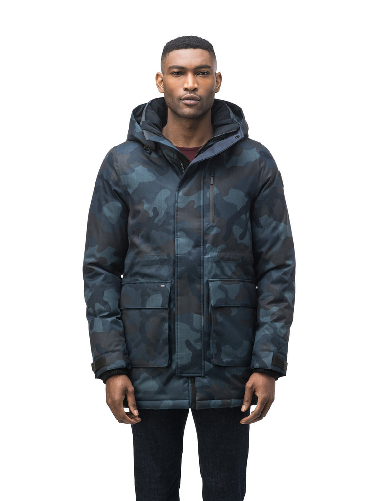 Mid weight men's down filled parka with two patch pockets at the hip and snap closure side vents in Navy Camo| color