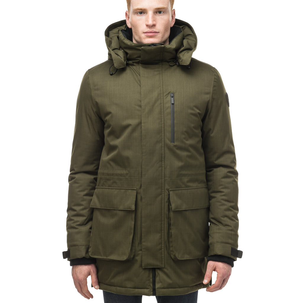 Mid weight men's down filled parka with two patch pockets at the hip and snap closure side vents in Fatigue | color
