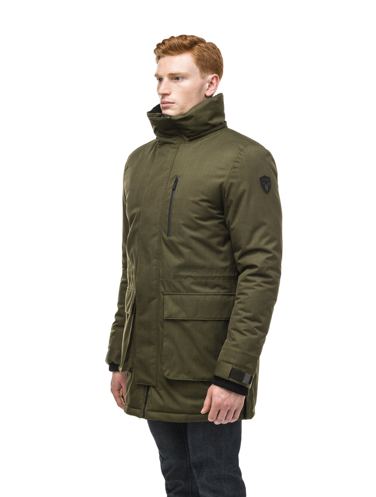 Mid weight men's down filled parka with two patch pockets at the hip and snap closure side vents in Fatigue| color