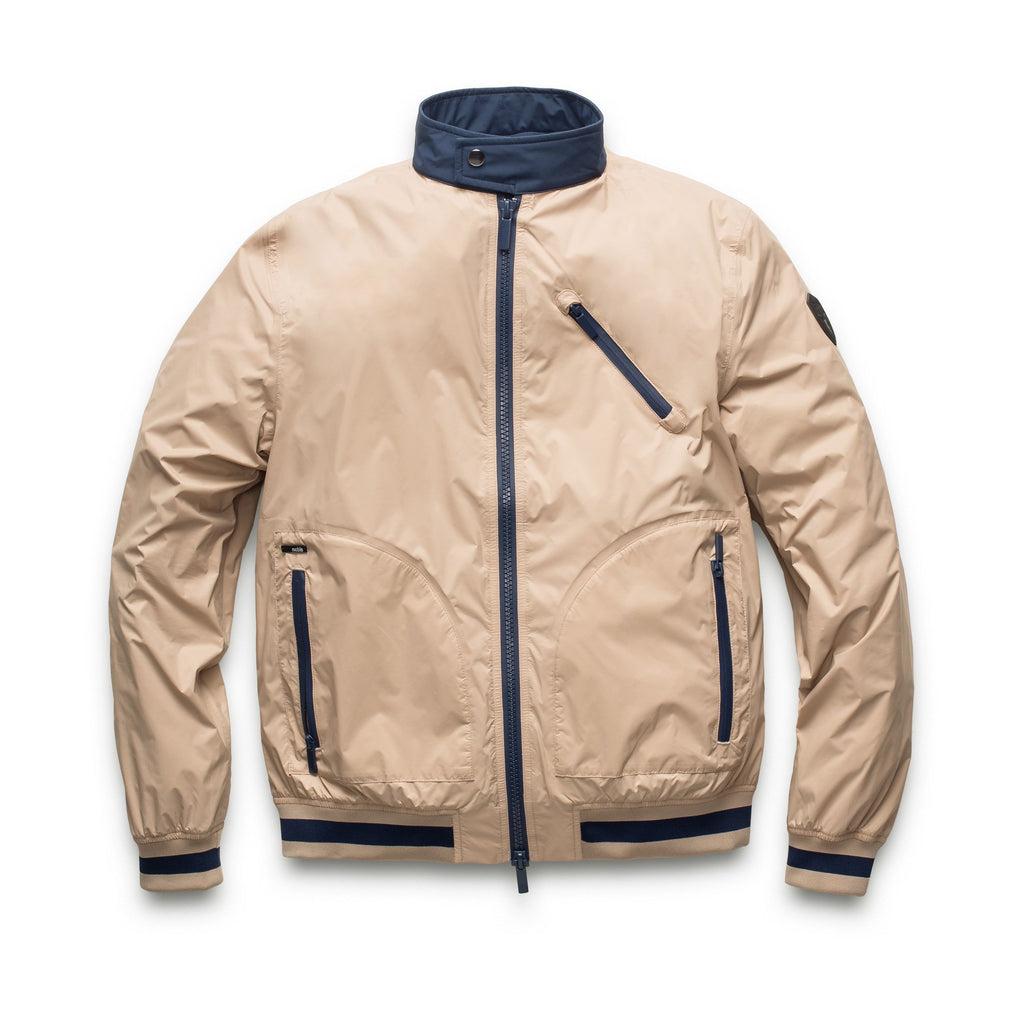 Men's lightweight taffeta bomber jacket with dark contrast trim in Fawn | color