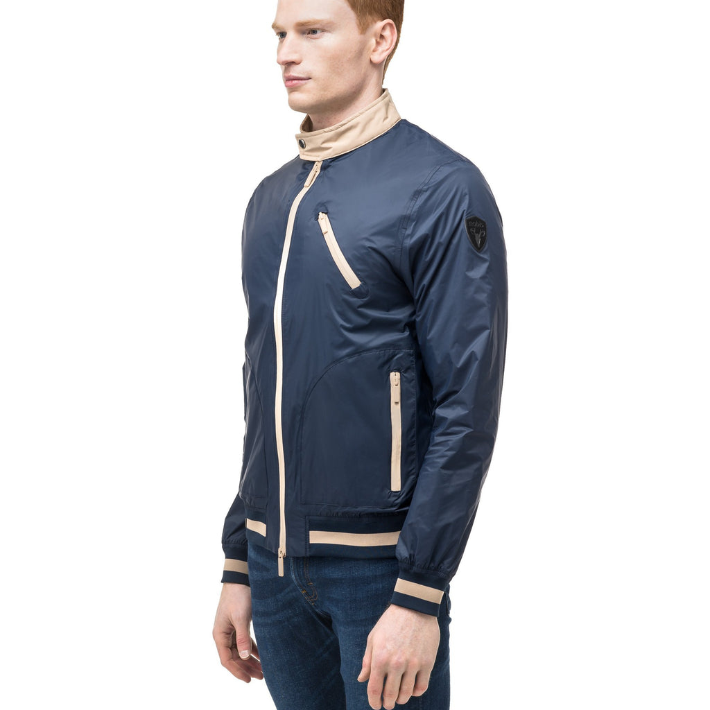 Men's lightweight taffeta bomber jacket with light contrast trim in Marine | color
