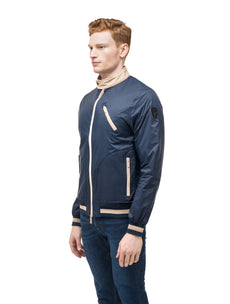 Men's lightweight taffeta bomber jacket with light contrast trim in Marine