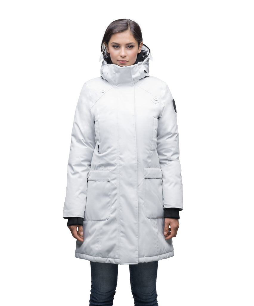 Best selling women's down filled knee length parka with removable down filled hood in CH Steel Grey