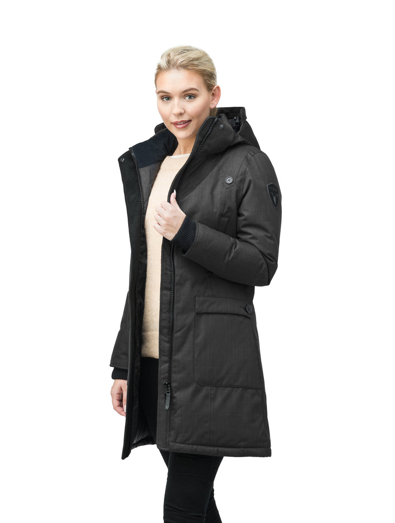 Best selling women's down filled knee length parka with removable down filled hood in CH Black| color