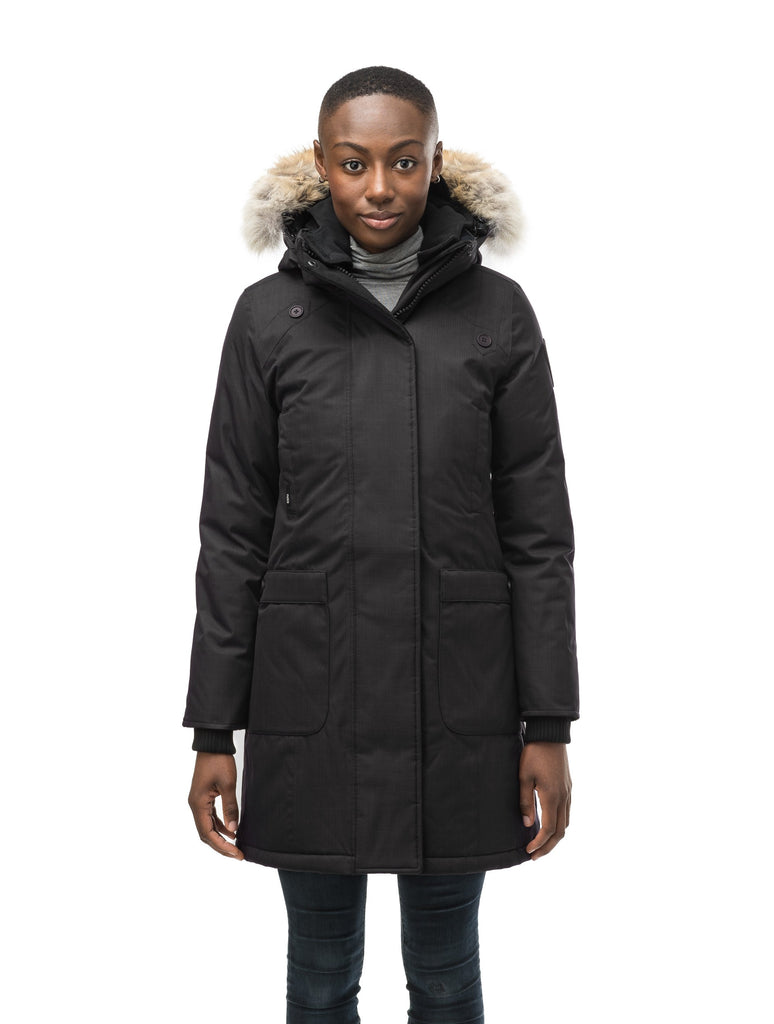 Merideth thigh length black parka, side view in CH Black| color