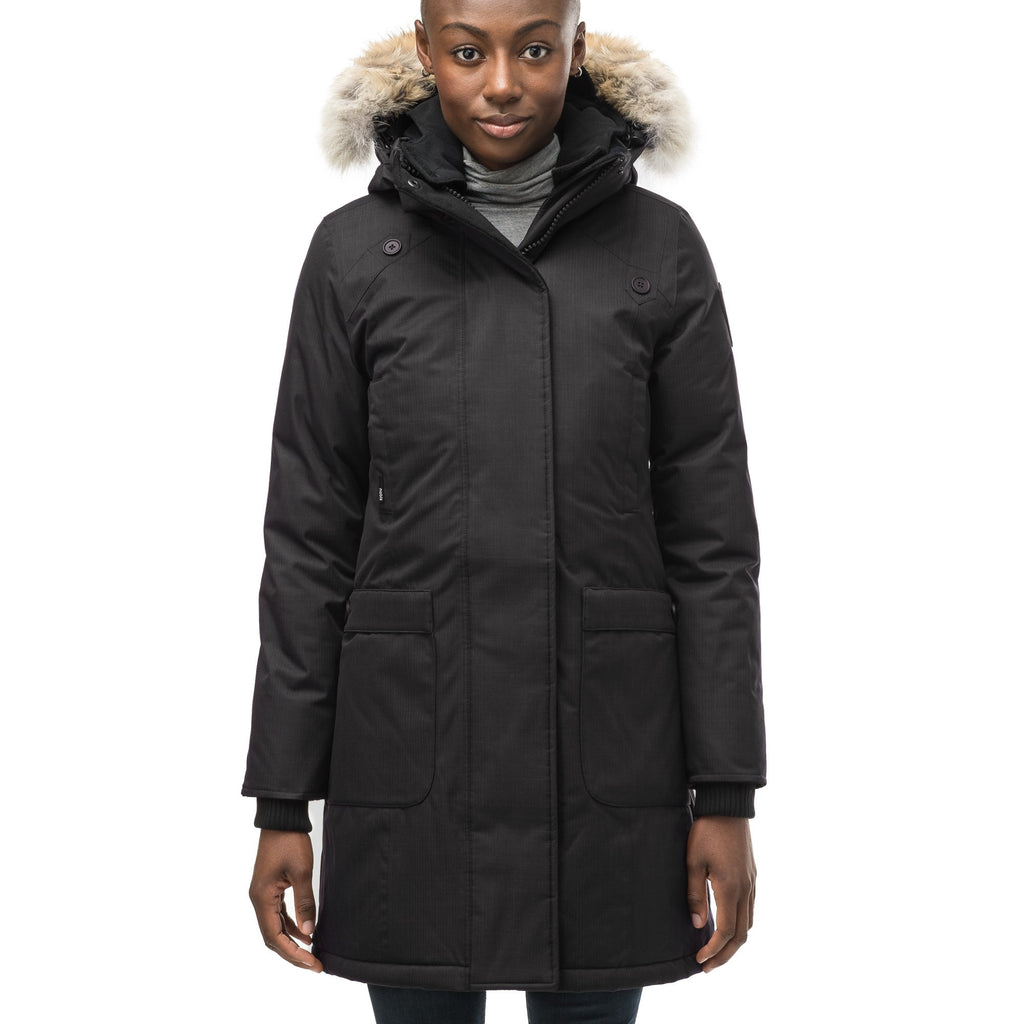 Merideth thigh length black parka, side view in CH Black | color