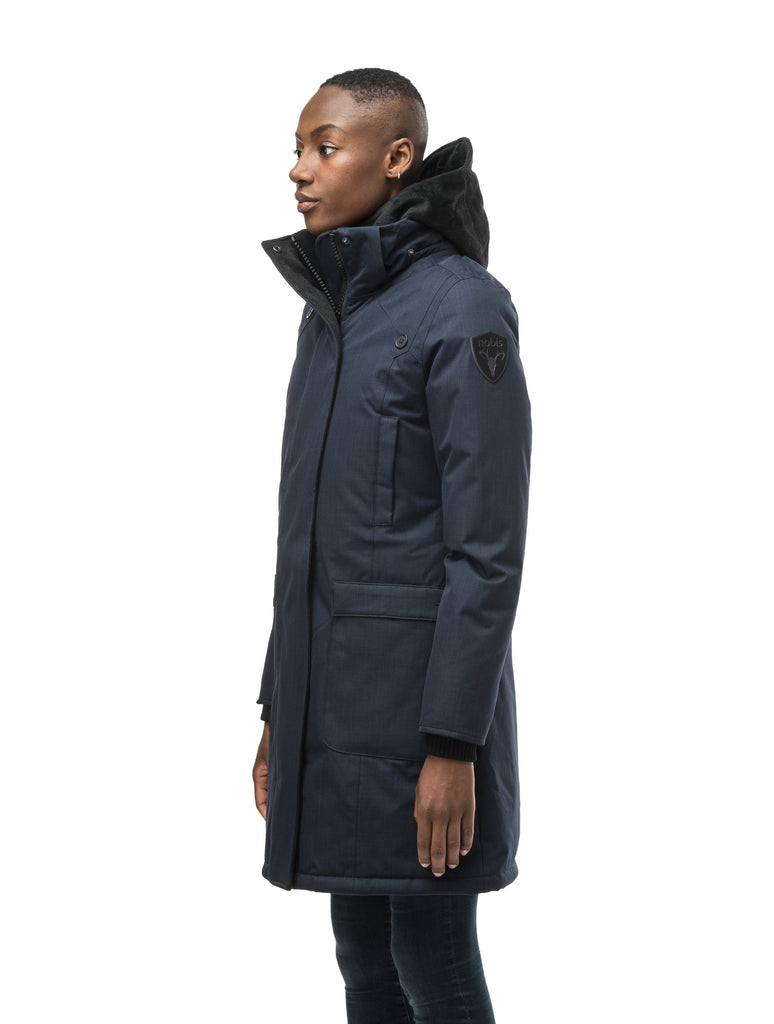 Best selling women's down filled knee length parka with removable down filled hood in CH Navy| color