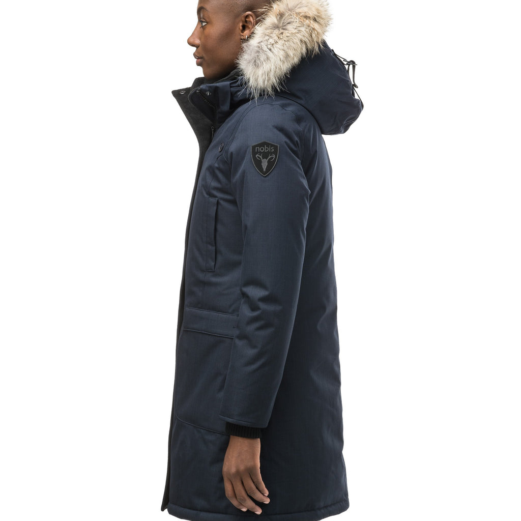 Best selling women's down filled knee length parka with removable down filled hood in CH Navy | color
