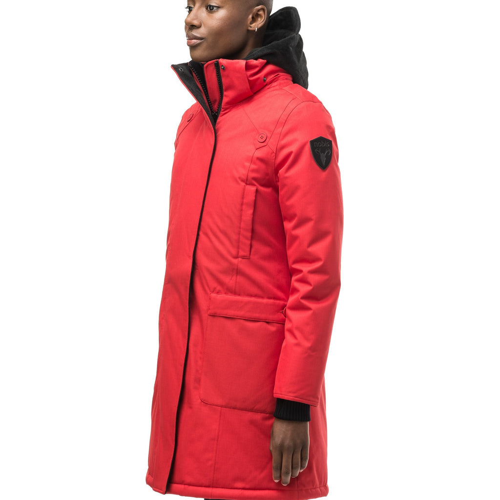 Best selling women's down filled knee length parka with removable down filled hood in CH Red | color