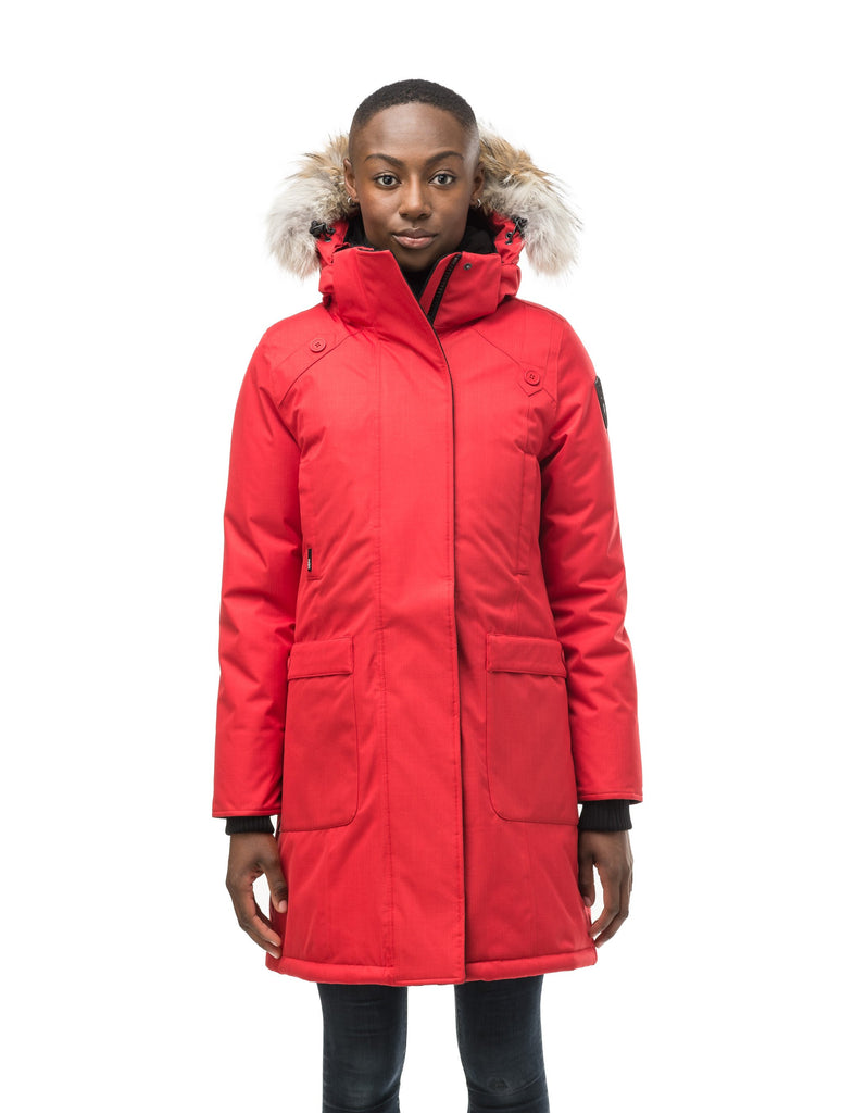 Best selling women's down filled knee length parka with removable down filled hood in CH Red| color