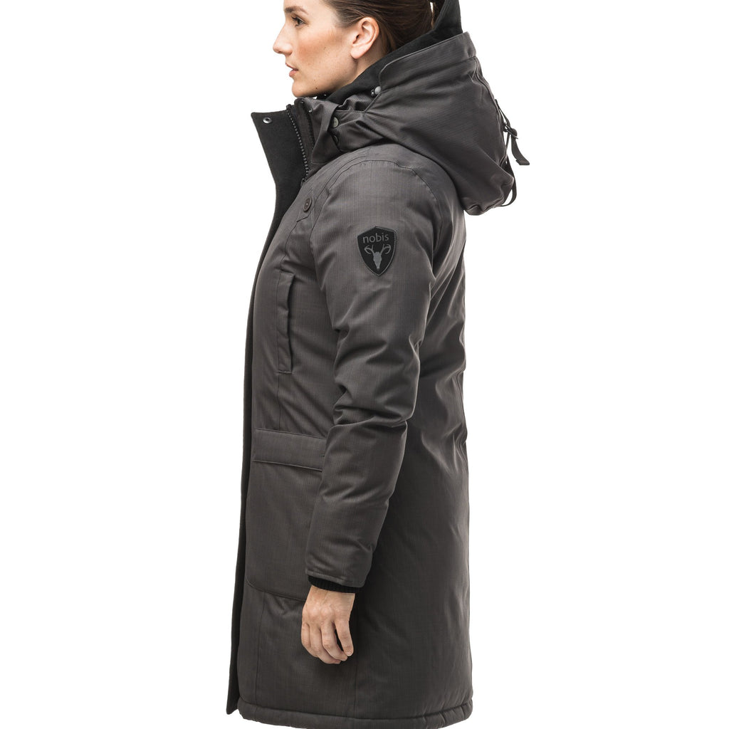 Best selling women's down filled knee length parka with removable down filled hood in CH Steel Grey | color