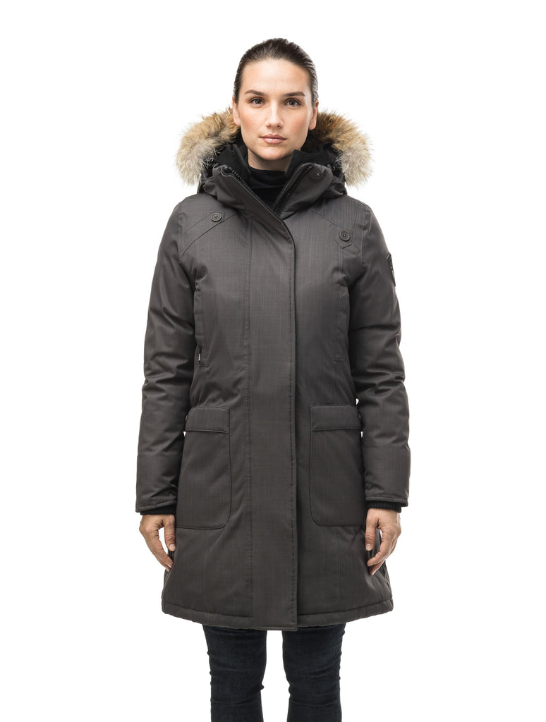 Best selling women's down filled knee length parka with removable down filled hood in CH Steel Grey| color