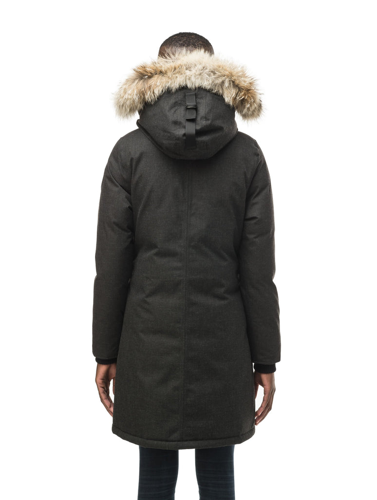 Best selling women's down filled knee length parka with removable down filled hood in H. Black| color