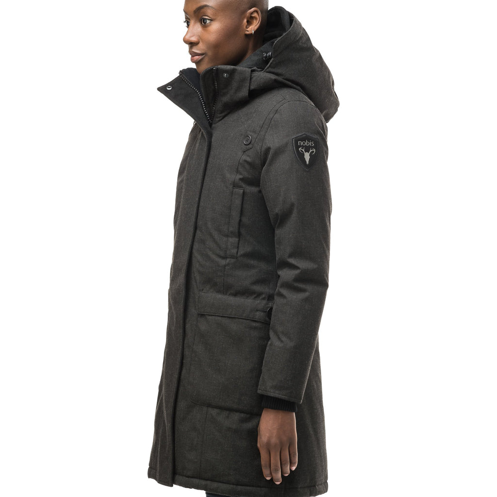Best selling women's down filled knee length parka with removable down filled hood in H. Black | color