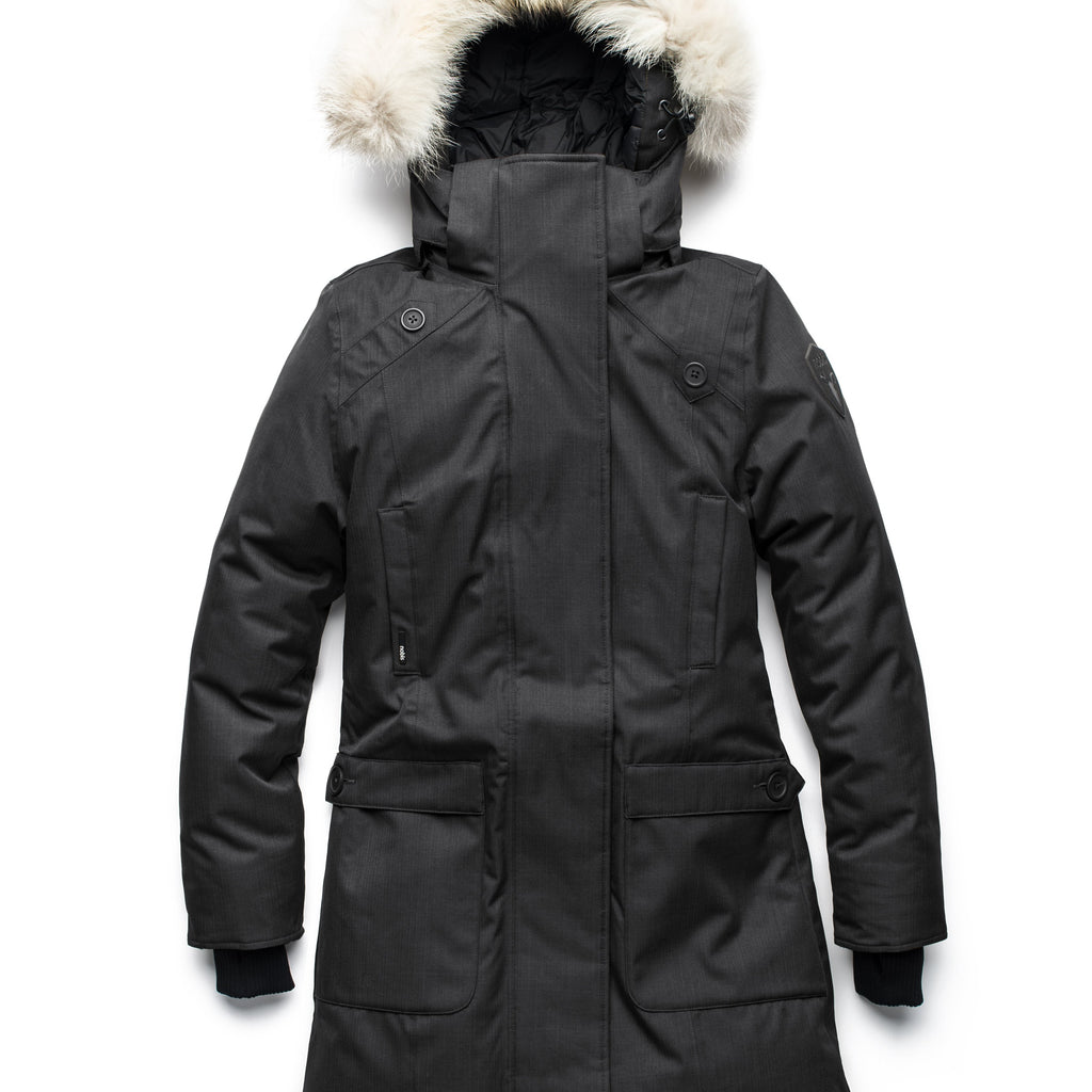 Best selling women's down filled knee length parka with removable down filled hood in CH Black | color