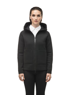Structured women's hoodie with exposed zipper in Black