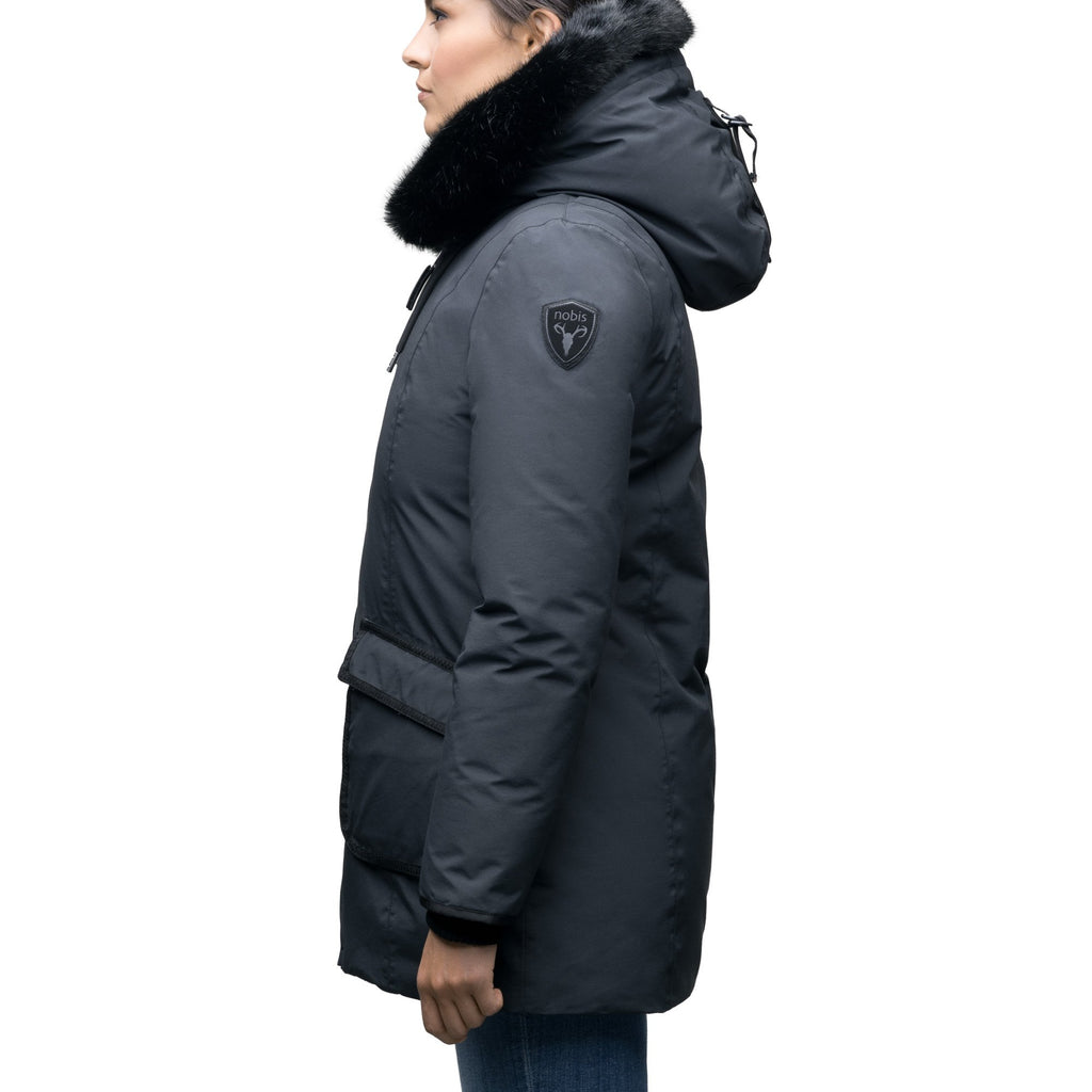 Women's hip length down parka with tonal fur trim in Cy Black | color