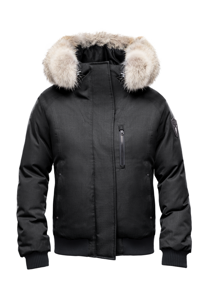 Women's down filled bomber jacket with fur trim hood in CH Black| color