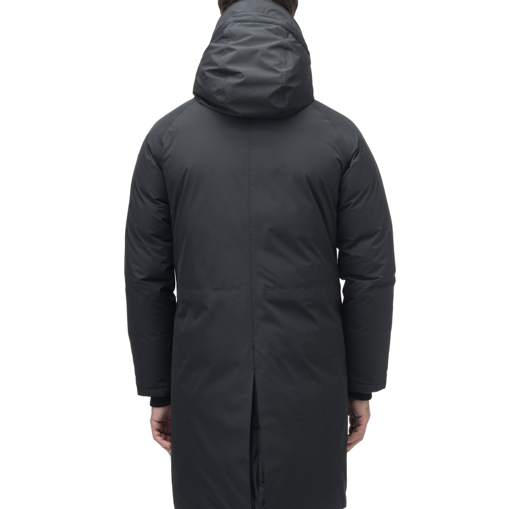 Men's knee length down-filled parka with removable hood in Black | color